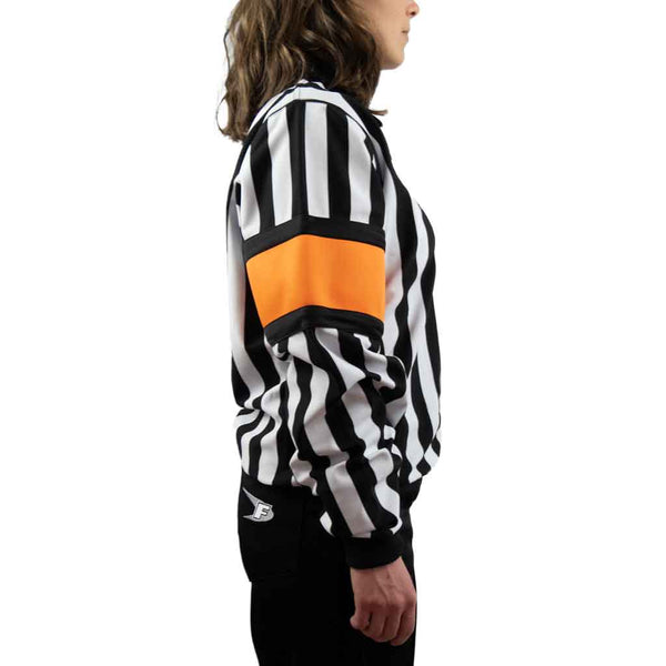 Force pro hockey referee jersey for women with orange armbands side view