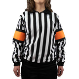 Force pro hockey referee jersey for women with orange armbands