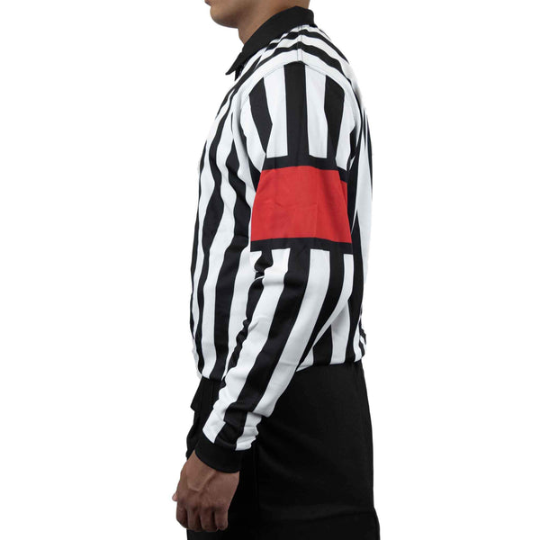Zebrasclub zr1 hockey referee jersey with red armbands left view