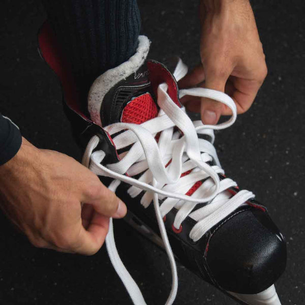 Zebrasclub white non waxed hockey referee laces on skate
