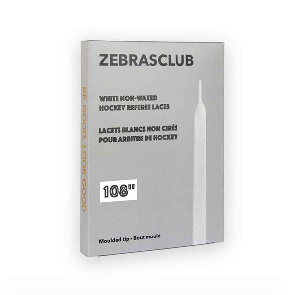 Zebrasclub white non waxed hockey referee laces 108in