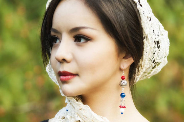 Anastasia Lin with Dragon Princess Earrings from Yun Boutique.