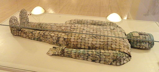 A jade burial suit at the George Walter Vincent Smith Art Museum. The Chinese used to bury the deceased in jade armor in the hopes of keeping the body from decaying. It doesn't. (By Daderot (Own work) [CC0], via Wikimedia Commons)