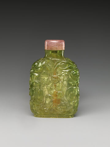 Snuff bottle, green tourmaline with pink tourmaline stopper, Qing Dynasty (1644-1911). (Metropolitan Museum of Art)