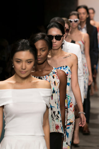 Models in New York Fashion Week. Candice is the first one, modeling Yun Boutique Lotus Pearl Earrings.