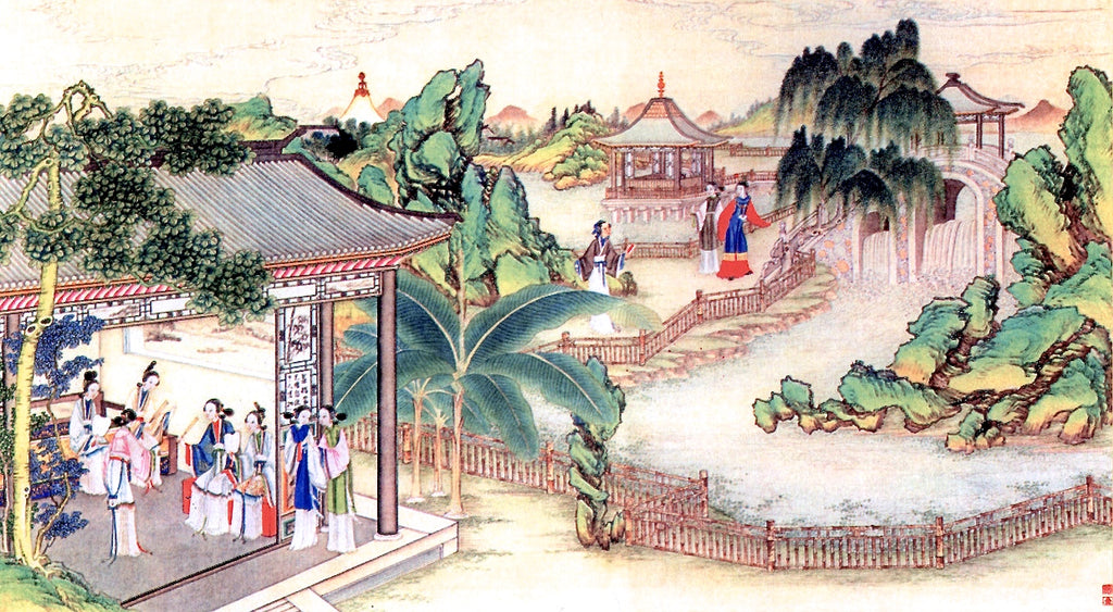 "Meticulous painting of ""The Dream of The Red Chamber"", one of China's Four Great Classical Novels. The story has more than 10 poems about chrysanthemum."