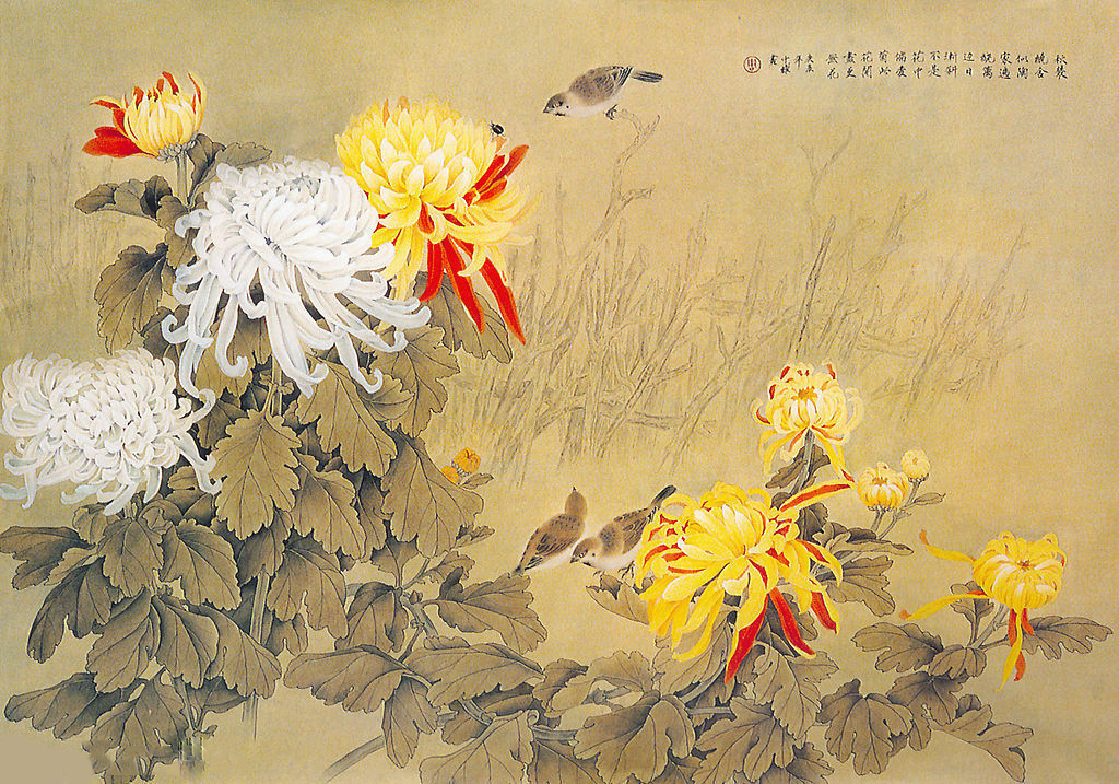 Meticulous painting of chrysanthemum. (nipic.com)