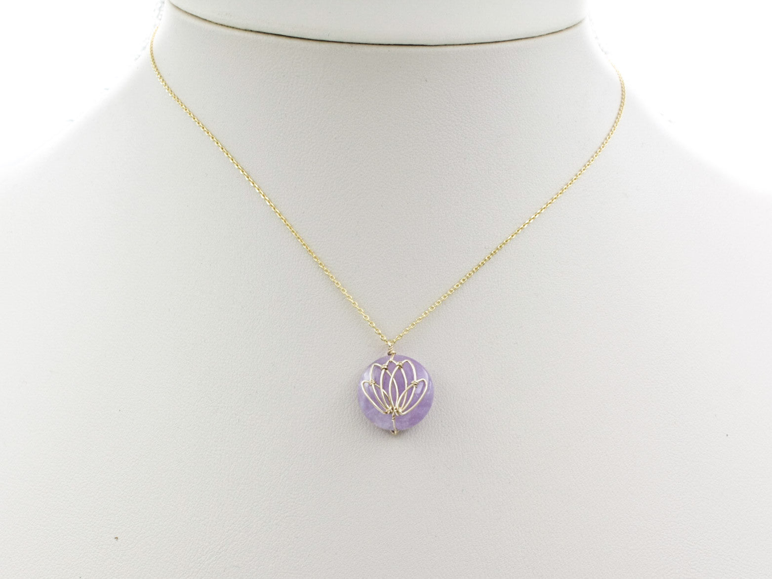 Semi precious lotus necklace yun boutique serene lotus necklace in gold mozeypictures Choice Image