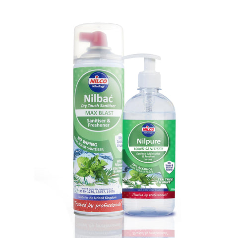 Nilco Nilbac® Max Blast Dry Touch Sanitiser & Nilpure Scented Hand Sanitiser - 500ml Tea Tree & Mint