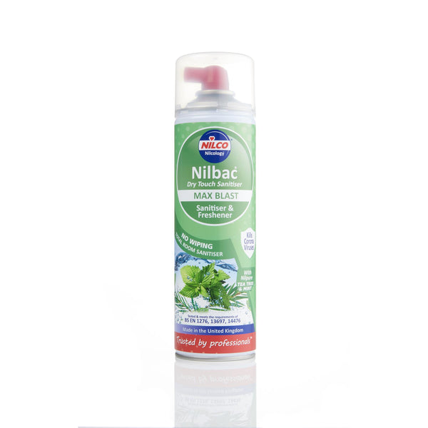 Nilco Nilbac® Max Blast Dry Touch Sanitiser 500ml & Nilpure Scented Hand Sanitiser - 100ml Tea Tree & Mint