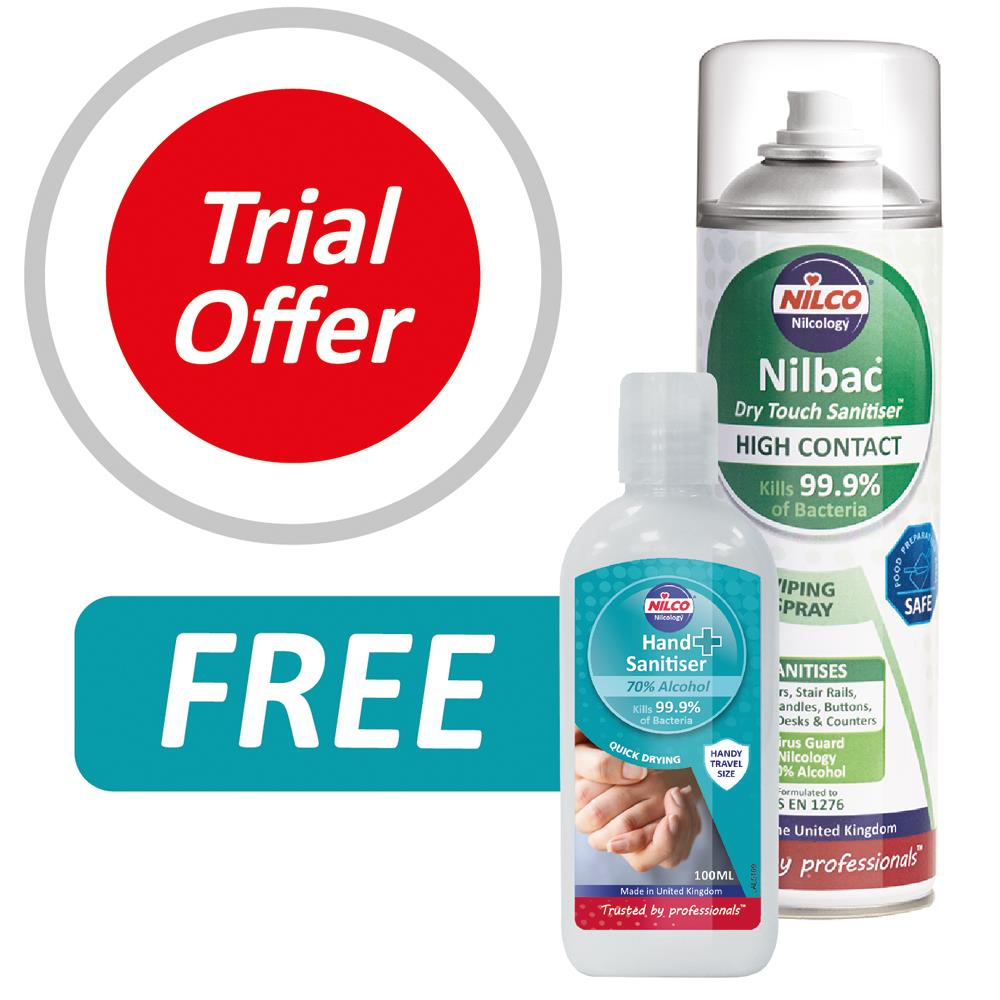 Buy One Nilbac 'Dry Touch' High Contact Sanitiser And Get A 100ml Nilco Hand Sanitiser FREE - Worth £1.99