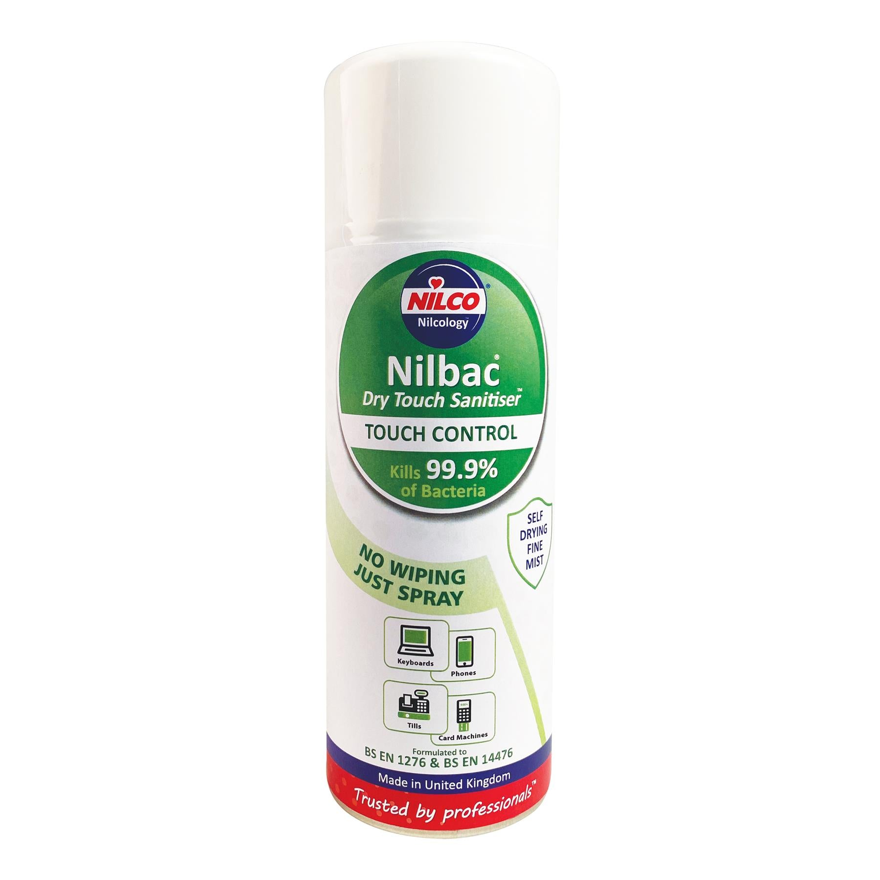 Nilco Dry-Touch Sanitiser Antibacterial Aerosol Spray - 400ml