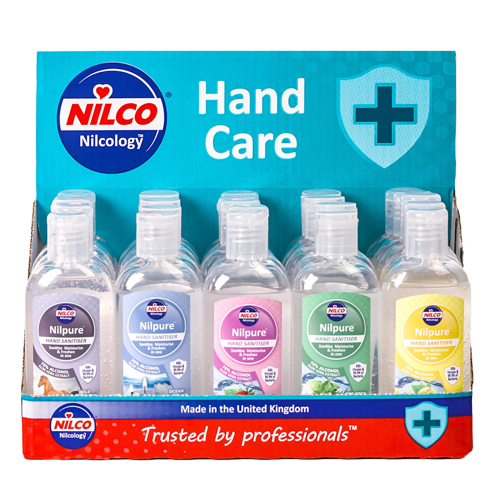Nilco Nilpure Moisturising Fragranced Hand Sanitiser 100ml Mixed Counter Top Display Unit