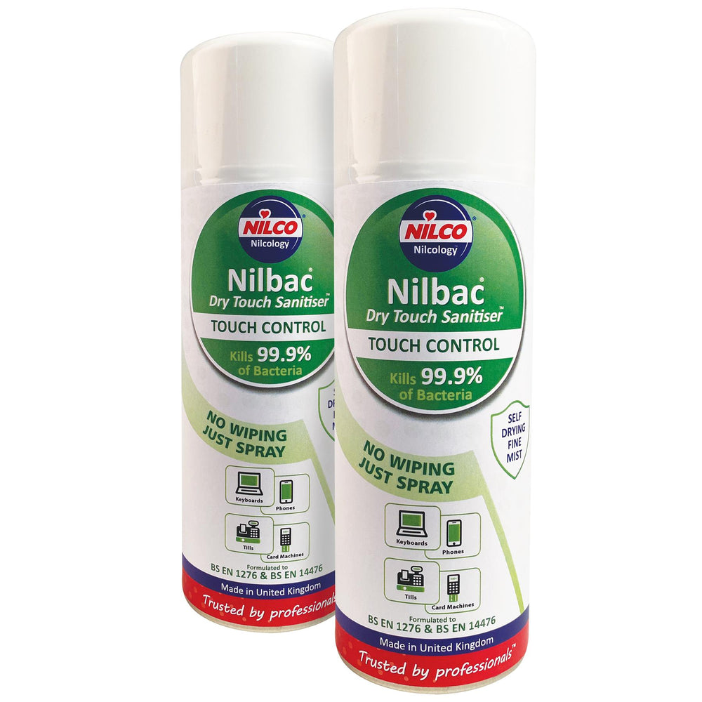 Nilco Nilbac® Dry-Touch Sanitiser Touch Control Antibacterial Aerosol Spray - 400ml Twin Pack
