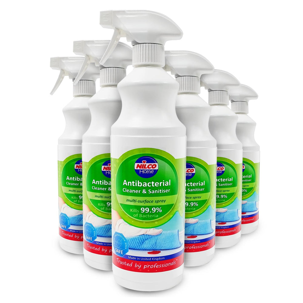 Nilco Antibacterial Cleaner And Sanitiser Multi-Surface Spray - 1L 6 Pack