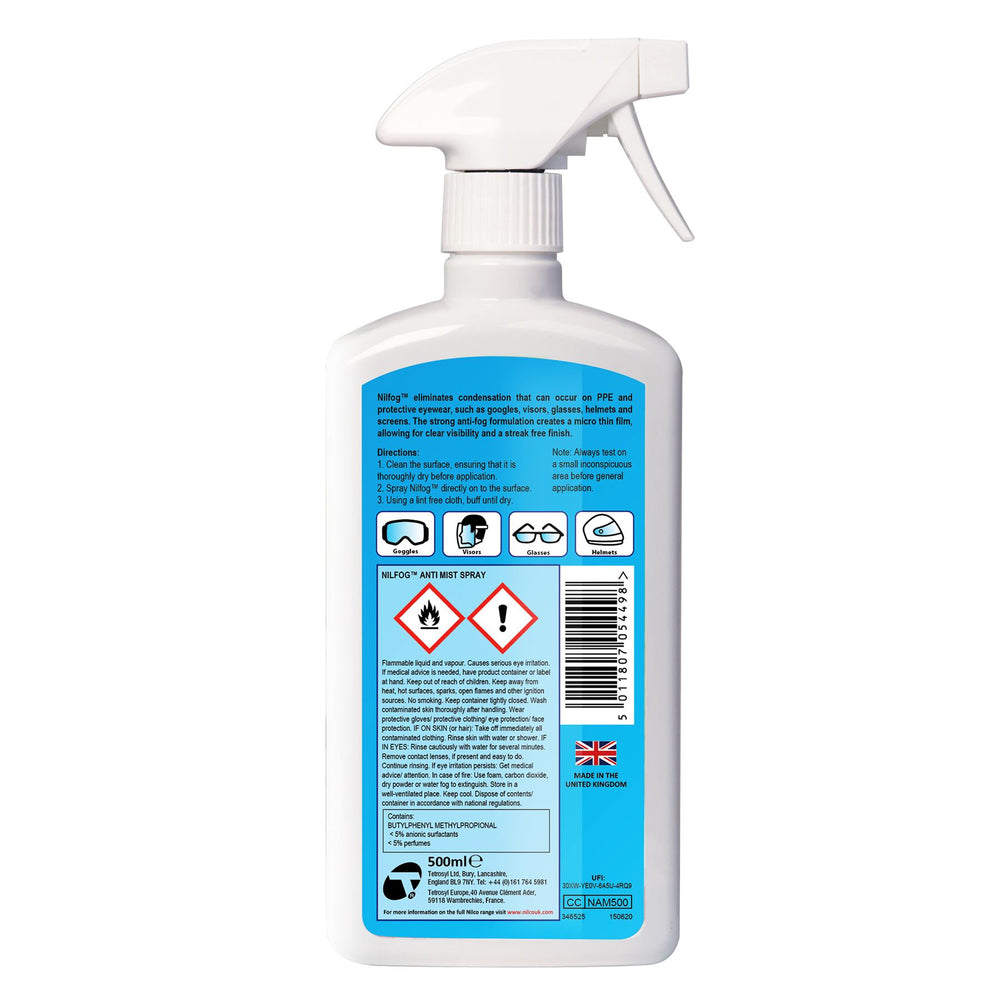 Nilco Nilfog™ PPE Anti Mist Spray - 500ml Triple Pack