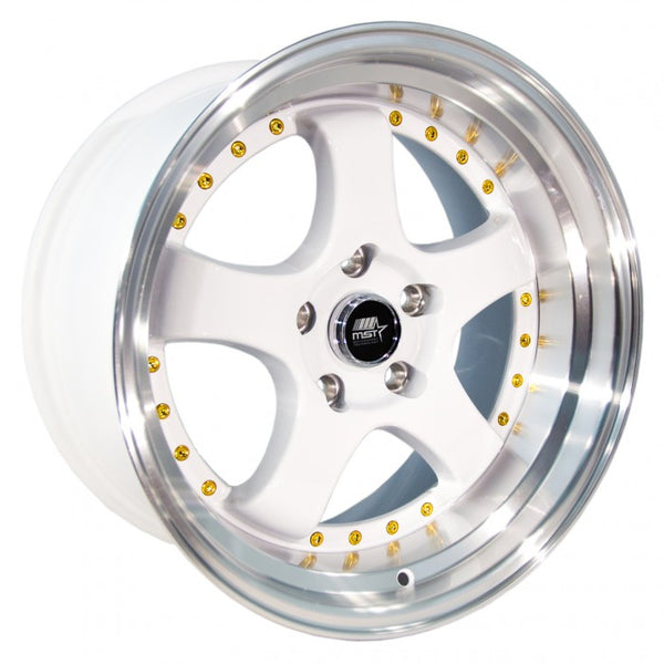 MST MT07 White w/ Machined Lip Gold Rivets