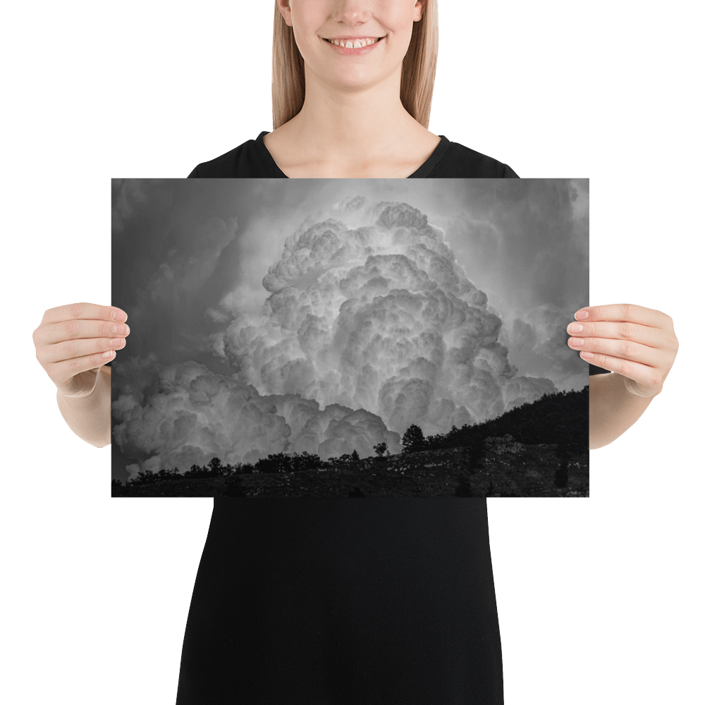 Black and white cloud explosion