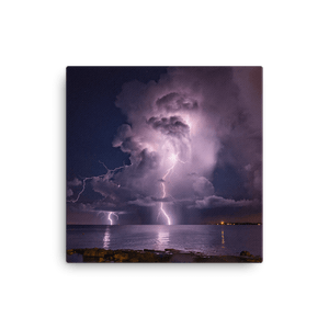 Night storm lightning show over Adriatic Sea by Gregor Vojščak