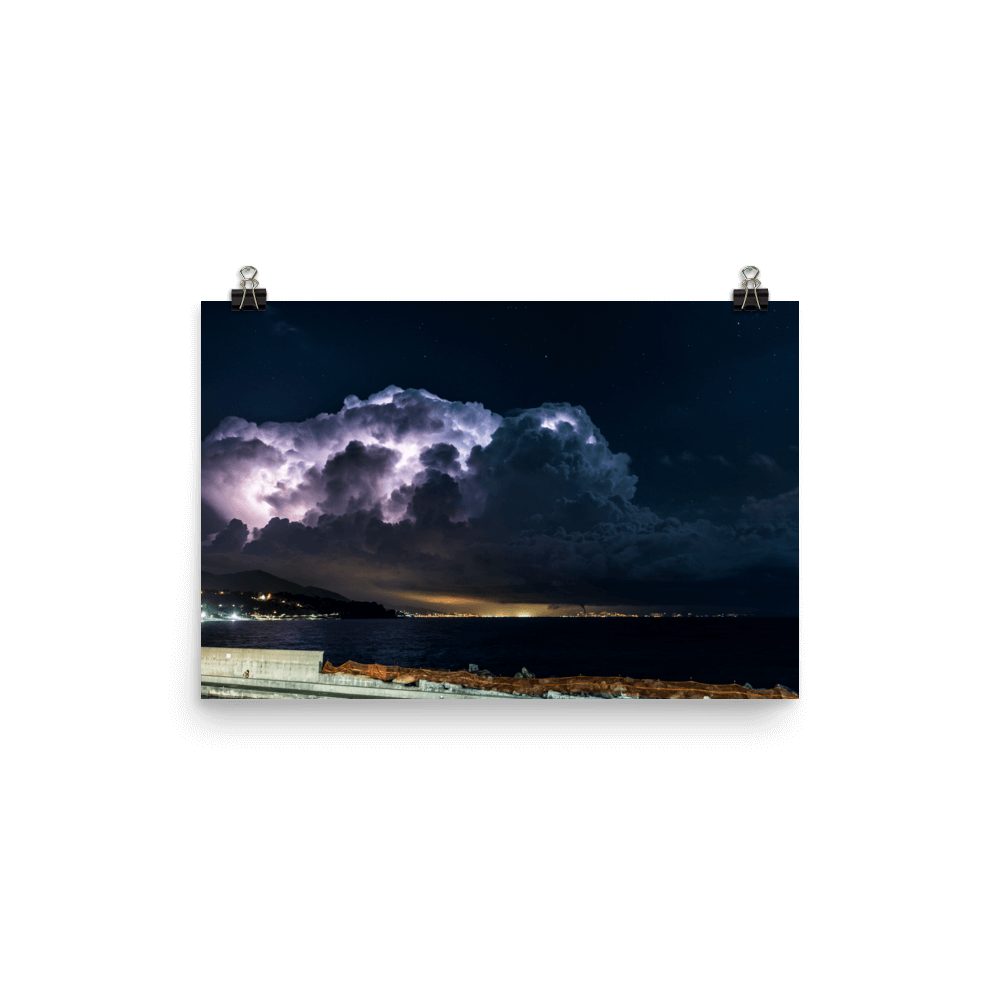Suggestive thunderstorm spectacle over Ligurian Sea
