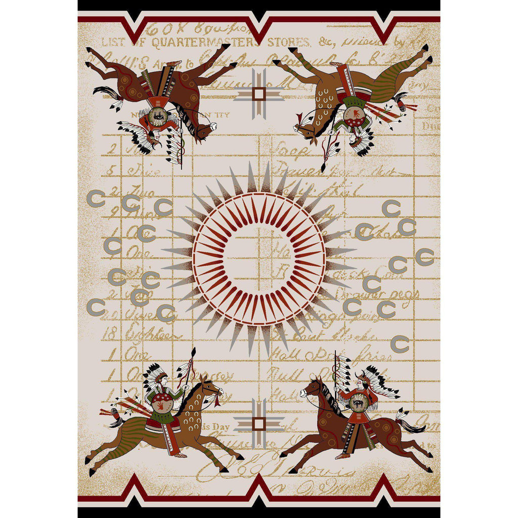 Battle Legends - Multi-CabinRugs Southwestern Rugs Wildlife Rugs Lodge Rugs Aztec RugsSouthwest Rugs