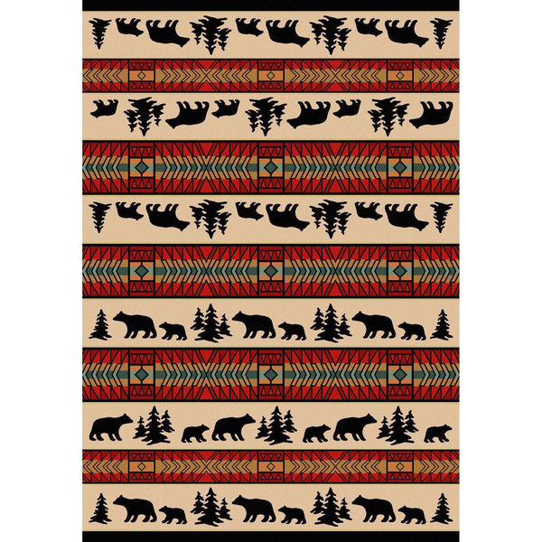 Bear Explorer - Red-CabinRugs Southwestern Rugs Wildlife Rugs Lodge Rugs Aztec RugsSouthwest Rugs