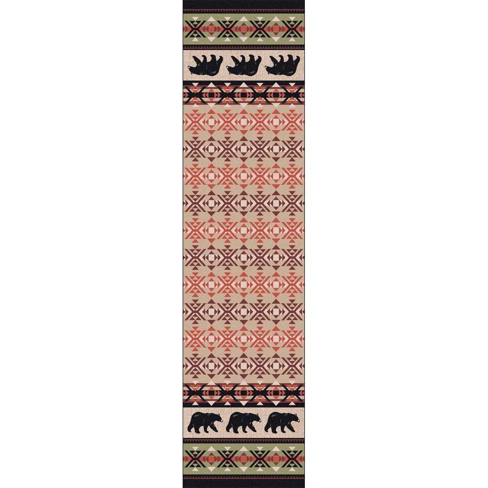 Comfy Bears - Burnt Red-CabinRugs Southwestern Rugs Wildlife Rugs Lodge Rugs Aztec RugsSouthwest Rugs