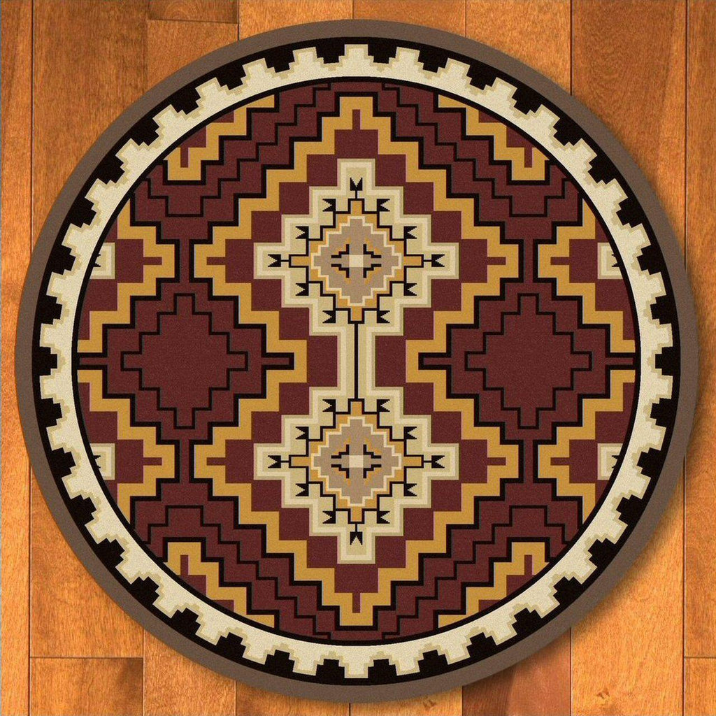 Council Of The Chiefs - Red-CabinRugs Southwestern Rugs Wildlife Rugs Lodge Rugs Aztec RugsSouthwest Rugs