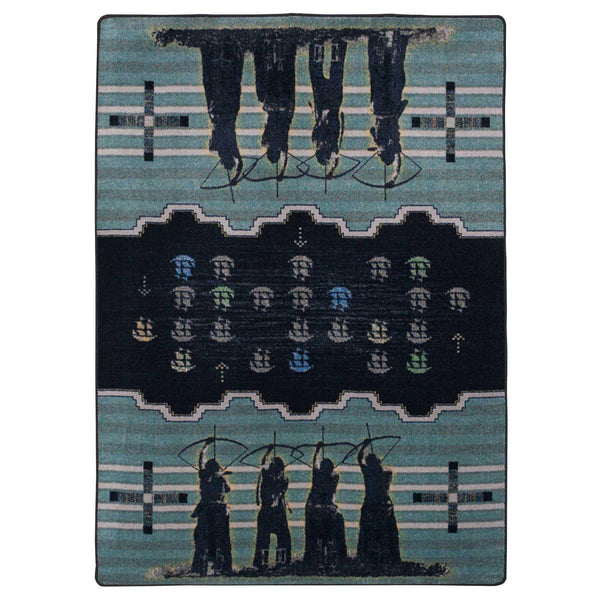 Defend Our Land - Blue-CabinRugs Southwestern Rugs Wildlife Rugs Lodge Rugs Aztec RugsSouthwest Rugs