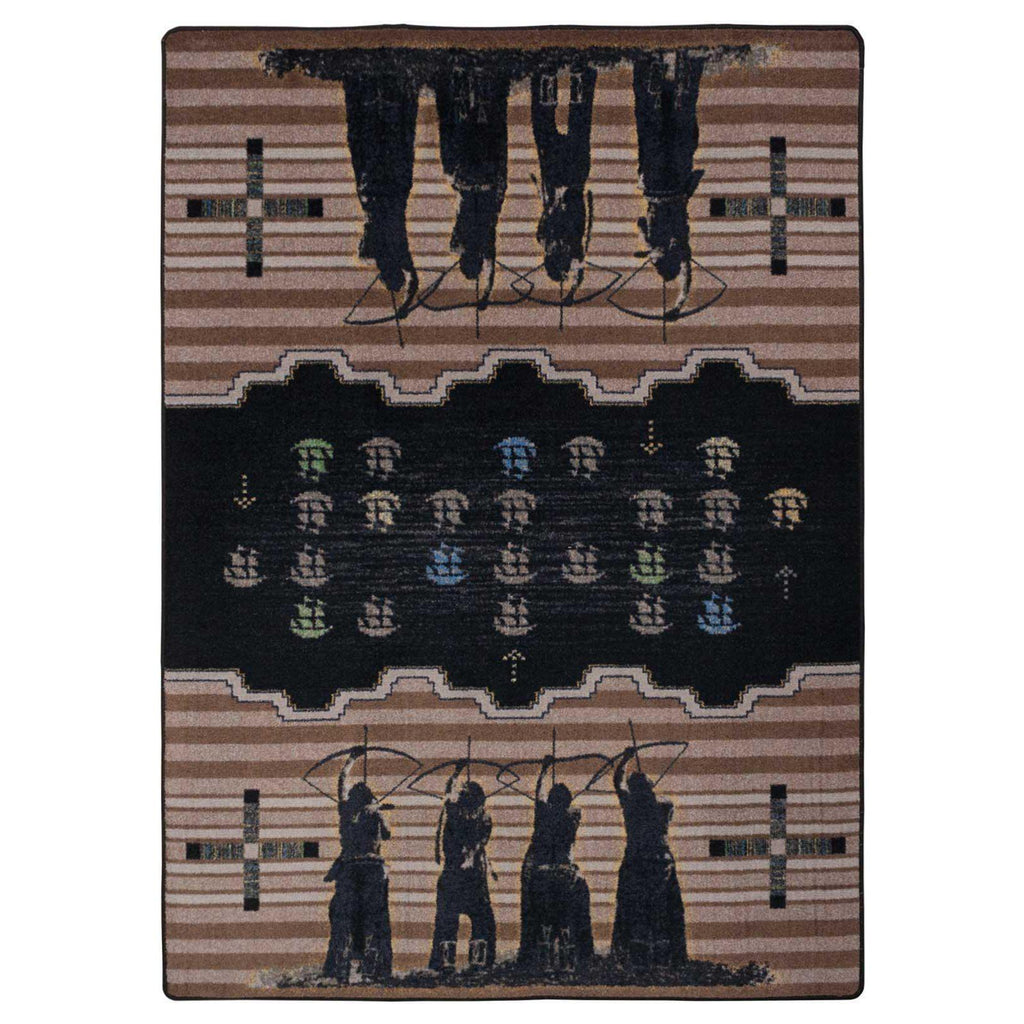 Defend Our Land - Brown-CabinRugs Southwestern Rugs Wildlife Rugs Lodge Rugs Aztec RugsSouthwest Rugs