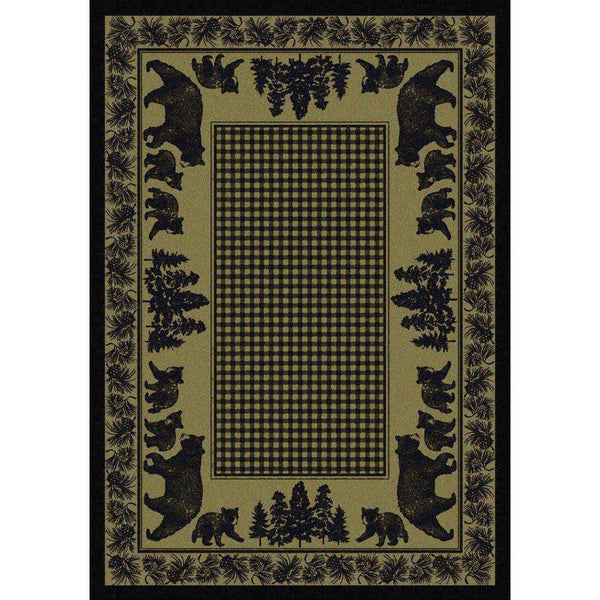 Familia Ursa - Green-CabinRugs Southwestern Rugs Wildlife Rugs Lodge Rugs Aztec RugsSouthwest Rugs