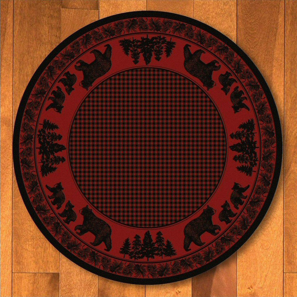 Familia Ursa - Red-CabinRugs Southwestern Rugs Wildlife Rugs Lodge Rugs Aztec RugsSouthwest Rugs
