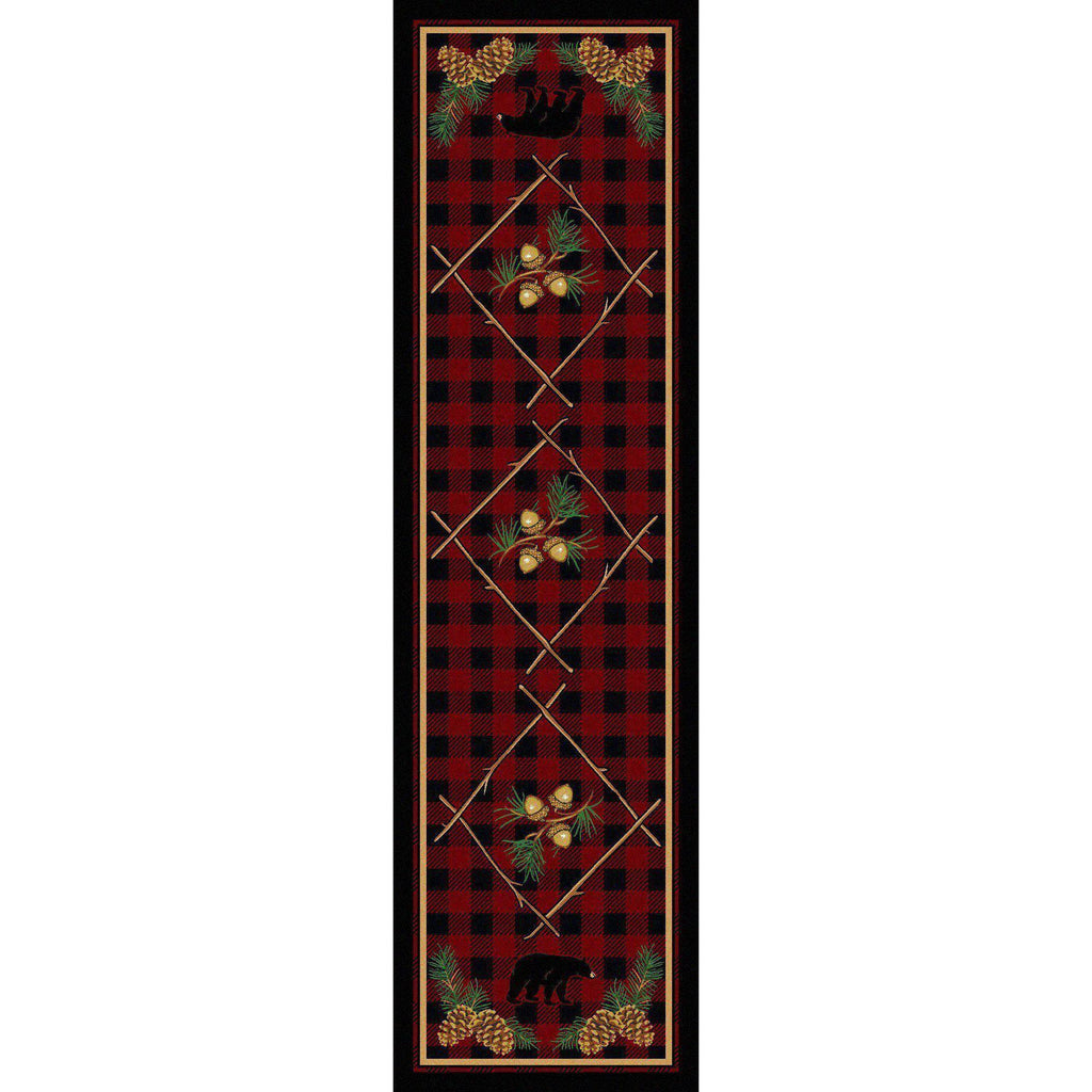 Forest Depth - Red-CabinRugs Southwestern Rugs Wildlife Rugs Lodge Rugs Aztec RugsSouthwest Rugs