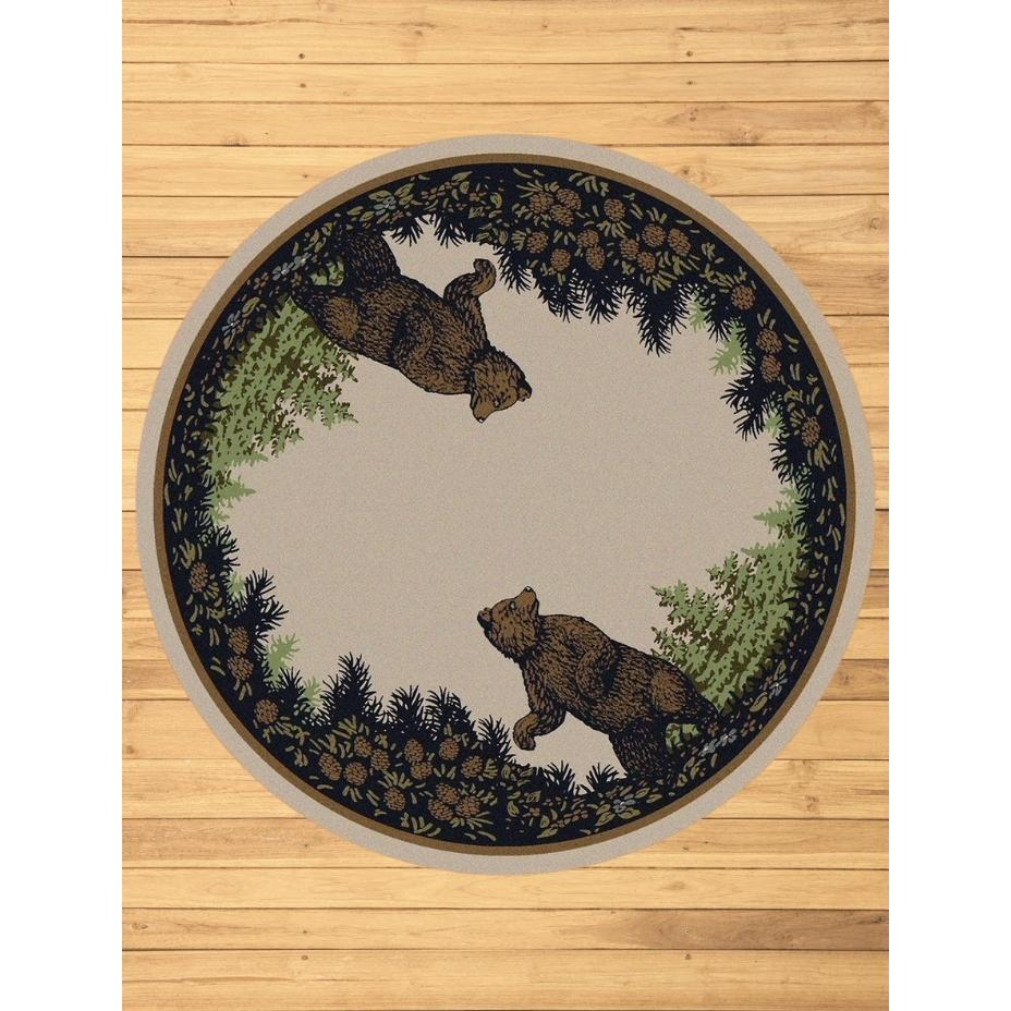 Fraternal Bears - Green-CabinRugs Southwestern Rugs Wildlife Rugs Lodge Rugs Aztec RugsSouthwest Rugs
