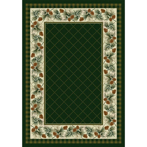 Green Pines - Pine-CabinRugs Southwestern Rugs Wildlife Rugs Lodge Rugs Aztec RugsSouthwest Rugs