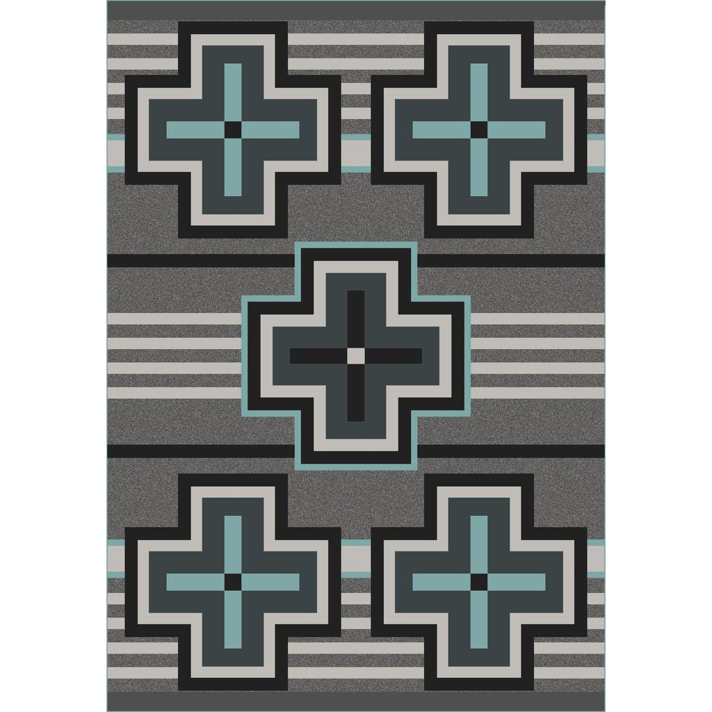 Hunter - Flint Turquoise-CabinRugs Southwestern Rugs Wildlife Rugs Lodge Rugs Aztec RugsSouthwest Rugs
