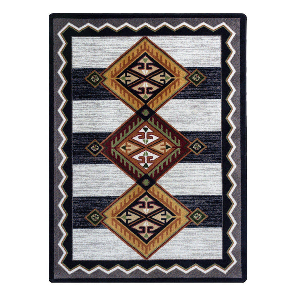 Lineage Pride - Black & White-CabinRugs Southwestern Rugs Wildlife Rugs Lodge Rugs Aztec RugsSouthwest Rugs