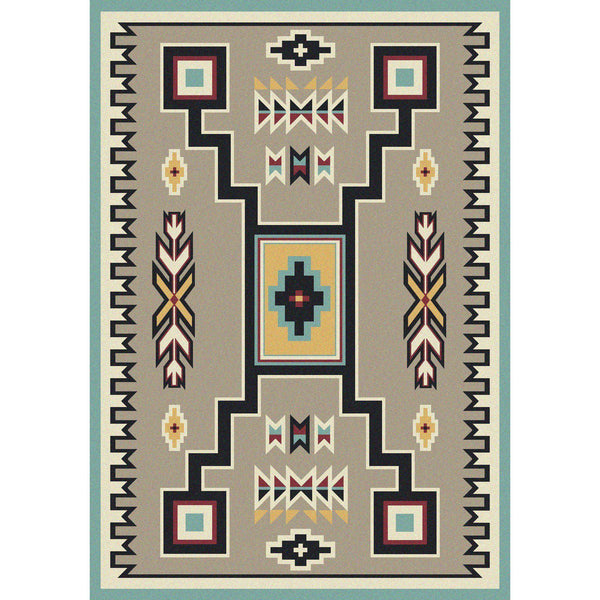 Old Timer - Suede Turquoise-CabinRugs Southwestern Rugs Wildlife Rugs Lodge Rugs Aztec RugsSouthwest Rugs