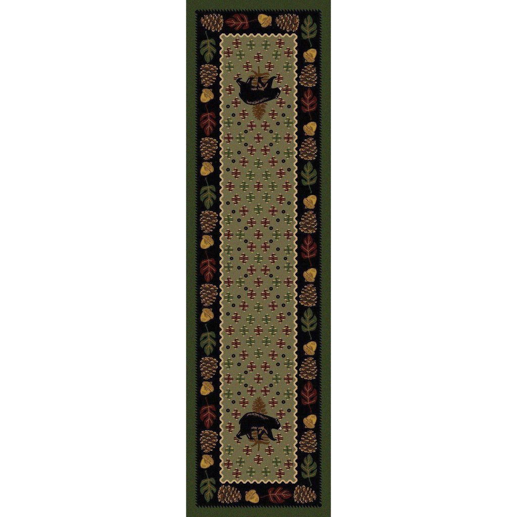 Picnic Bear - Green-CabinRugs Southwestern Rugs Wildlife Rugs Lodge Rugs Aztec RugsSouthwest Rugs