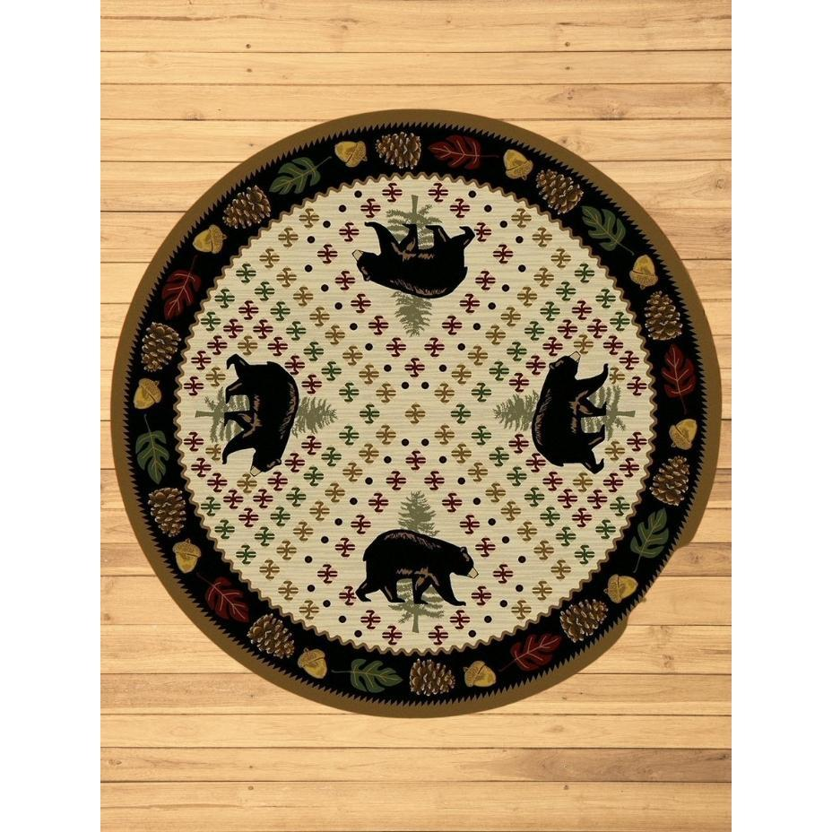 Picnic Bear - Natural-CabinRugs Southwestern Rugs Wildlife Rugs Lodge Rugs Aztec RugsSouthwest Rugs