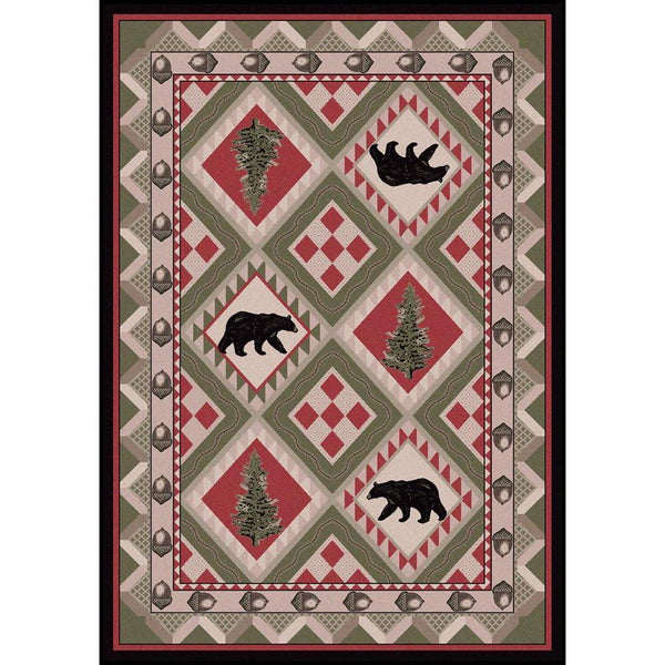 Picnic In The Forest - Pine-CabinRugs Southwestern Rugs Wildlife Rugs Lodge Rugs Aztec RugsSouthwest Rugs
