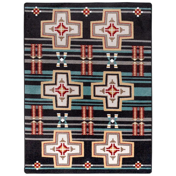 Rio Grande - Black-CabinRugs Southwestern Rugs Wildlife Rugs Lodge Rugs Aztec RugsSouthwest Rugs