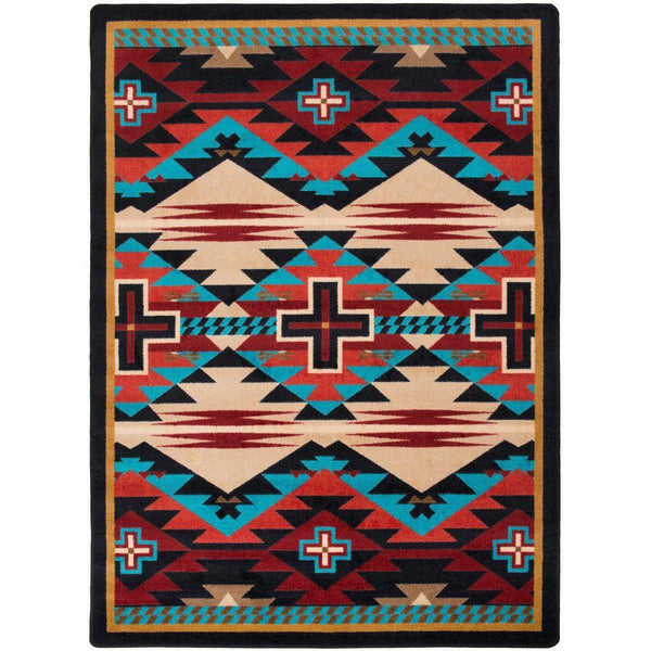 Rustic Crucifix - Blue-CabinRugs Southwestern Rugs Wildlife Rugs Lodge Rugs Aztec RugsSouthwest Rugs