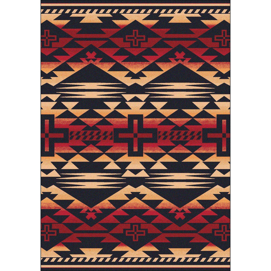 Rustic Crucifix - Burnt Red-CabinRugs Southwestern Rugs Wildlife Rugs Lodge Rugs Aztec RugsSouthwest Rugs