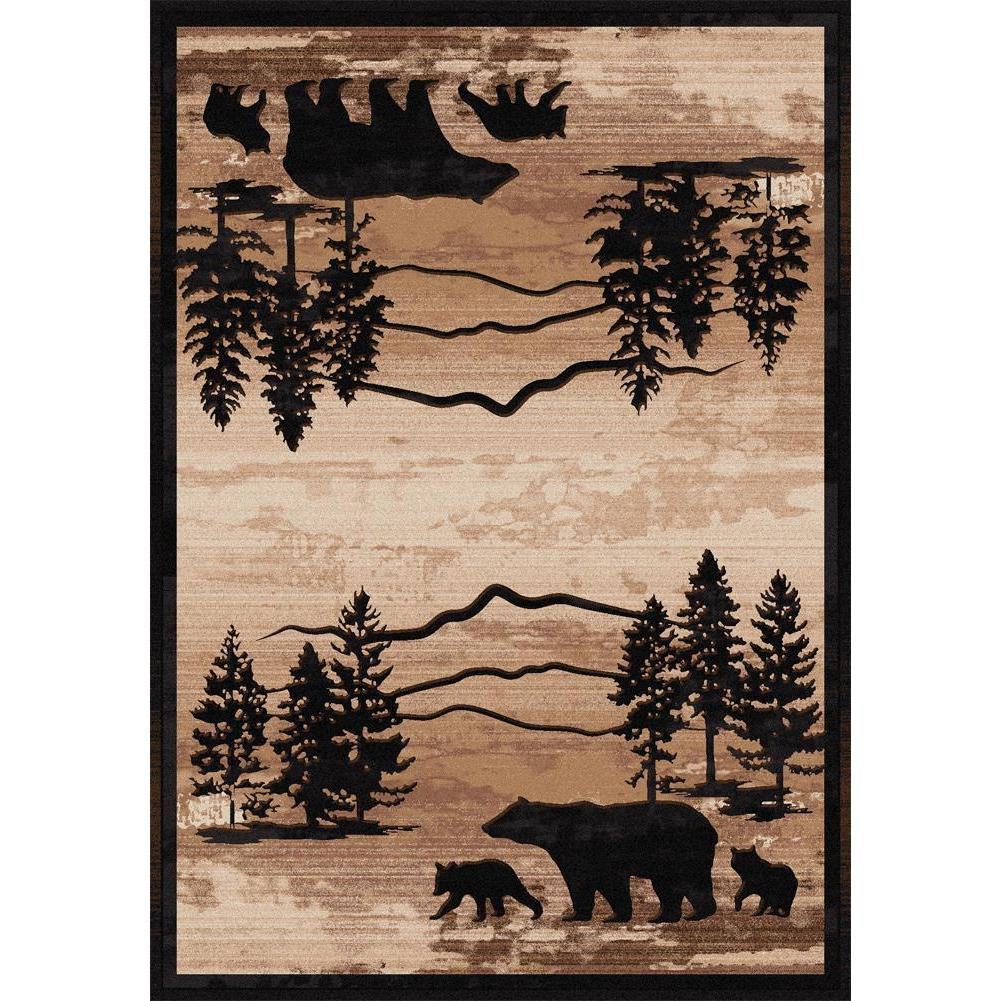 Shadow Bear-CabinRugs Southwestern Rugs Wildlife Rugs Lodge Rugs Aztec RugsSouthwest Rugs