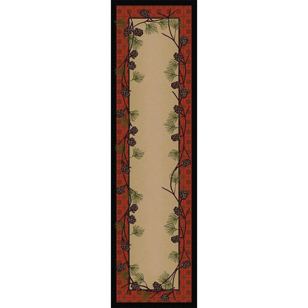 Simple Pines - Red Plaid-CabinRugs Southwestern Rugs Wildlife Rugs Lodge Rugs Aztec RugsSouthwest Rugs