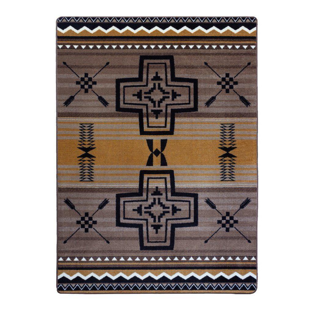 Southwest Abrazos - Old Gold-CabinRugs Southwestern Rugs Wildlife Rugs Lodge Rugs Aztec RugsSouthwest Rugs