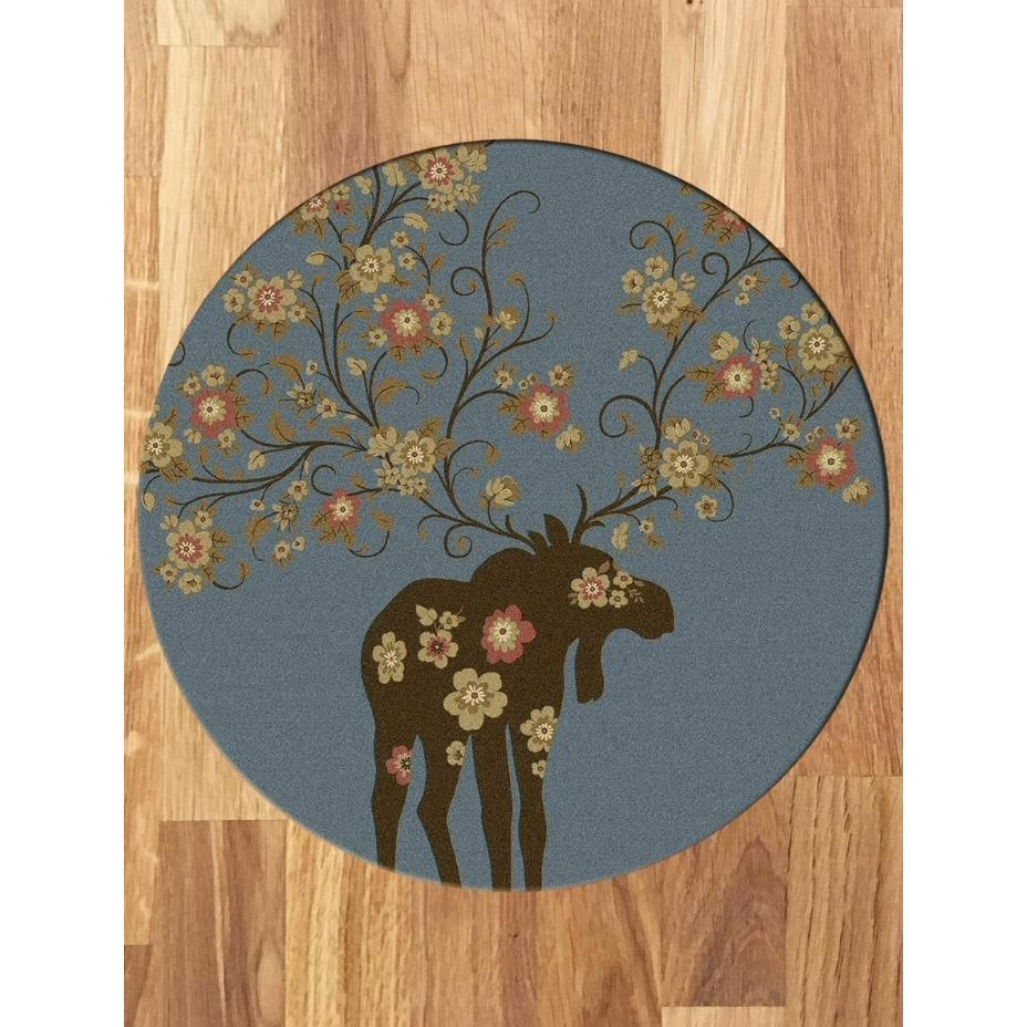 Springtime Moose - Blue-CabinRugs Southwestern Rugs Wildlife Rugs Lodge Rugs Aztec RugsSouthwest Rugs