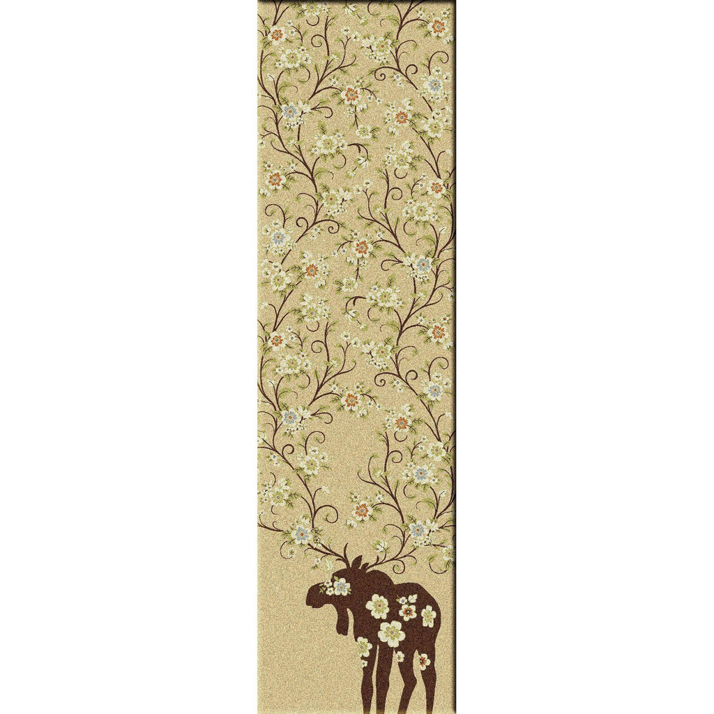 Springtime Moose - Natural-CabinRugs Southwestern Rugs Wildlife Rugs Lodge Rugs Aztec RugsSouthwest Rugs