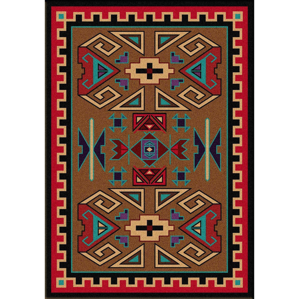 Steppe Rams - Bright-CabinRugs Southwestern Rugs Wildlife Rugs Lodge Rugs Aztec RugsSouthwest Rugs